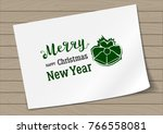 badge merry christmas and happy ...   Shutterstock .eps vector #766558081