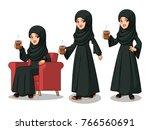 set of arab businesswoman in... | Shutterstock .eps vector #766560691