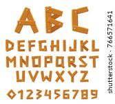 wooden vector font  alphabet...