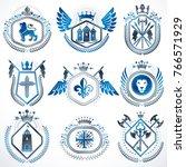 vector classy heraldic coat of... | Shutterstock .eps vector #766571929