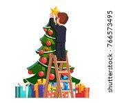 business man standing on a... | Shutterstock .eps vector #766573495