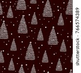 winter seamless pattern hand... | Shutterstock .eps vector #766574389