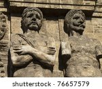 typical architecture detail of old sicilian town of Palermo - stock photo