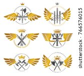 vintage weapon emblems set.... | Shutterstock .eps vector #766576015