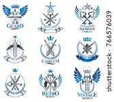 vintage weapon emblems set.... | Shutterstock .eps vector #766576039