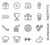 thin line icon set   gift ... | Shutterstock .eps vector #766579771