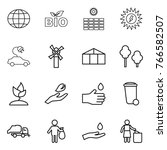 thin line icon set   globe  bio ... | Shutterstock .eps vector #766582507