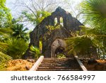 Small photo of Ruined of Ross Island original set up as Residential Headquarters British Administration of Indian Penal Settlement in Andaman Islands but today is Abandoned Entirely, South Andaman District, India.