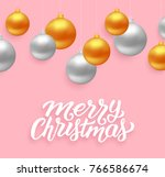 merry christmas lettering with... | Shutterstock .eps vector #766586674
