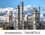 pipe work of an oil refinery... | Shutterstock . vector #766587511