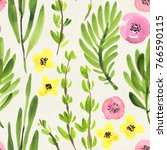 seamless watercolor floral... | Shutterstock . vector #766590115