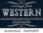 vintage font alphabet... | Shutterstock .eps vector #766592899