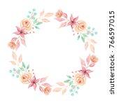 watercolor wreath peach flower... | Shutterstock . vector #766597015