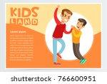little boy bullying by teenager ... | Shutterstock .eps vector #766600951