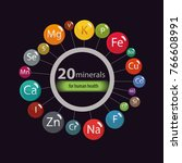 20 minerals  microelements and... | Shutterstock .eps vector #766608991