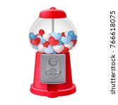 classic red gumball vending... | Shutterstock .eps vector #766618075