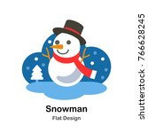 snowman with winter scarf flat... | Shutterstock .eps vector #766628245