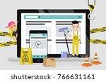 web design and development.... | Shutterstock .eps vector #766631161