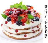 cake with fresh fruits isolated ... | Shutterstock . vector #76663210