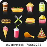 fast food black background ... | Shutterstock .eps vector #76663273