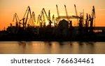 silhouette of industrial... | Shutterstock . vector #766634461