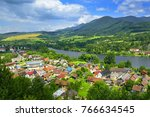 strecno village and vah river... | Shutterstock . vector #766634545