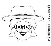 male face with hat and glasses... | Shutterstock .eps vector #766640155