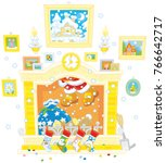 santa claus with his gift bag...   Shutterstock .eps vector #766642717