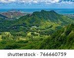 Small photo of View from Nuuanu Pali Overlook of the Kaneohe area on the southeast coast of Oahu, Hawaii, U.S.A.