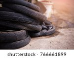a lot of wheel tires of... | Shutterstock . vector #766661899