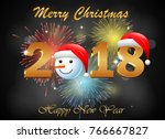 happy new year 2018 with... | Shutterstock .eps vector #766667827