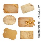 Stock photo old paper sales tags and labels on white background 76666849