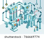 complex 3d isometric industrial ... | Shutterstock .eps vector #766669774
