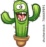 happy cartoon cactus with big... | Shutterstock .eps vector #766669891