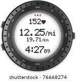 digital fitness watch with... | Shutterstock . vector #76668274