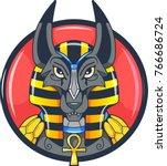 ancient egyptian god anubis... | Shutterstock .eps vector #766686724