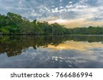 reflection of a sunset on the... | Shutterstock . vector #766686994