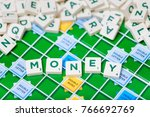 Small photo of London, England, November 16, 2017 - Scrabble letters spelling the word money