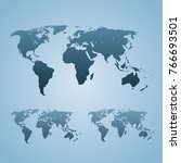 three stylized world maps are... | Shutterstock .eps vector #766693501