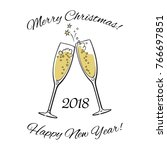 two sparkling glasses of... | Shutterstock .eps vector #766697851