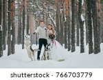 cheerfull couple with two... | Shutterstock . vector #766703779