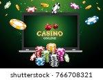 online casino poster. modern... | Shutterstock .eps vector #766708321