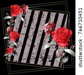 red flowers pattern..silk scarf ... | Shutterstock . vector #766710451