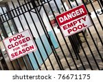 Signs Warn Of Empty Pool In Th...