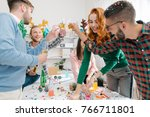 young collegues having fun at... | Shutterstock . vector #766711801