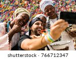 tourist taking selfie photos... | Shutterstock . vector #766712347