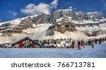 Small photo of MADONNA DI CAMPIGLIO, ITALY-02 April 2014: Ski resort Madonna di Campiglio.Panoramic landscape of Dolomite Alps in Madonna di Campiglio. Italy