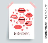 sexy lips with tongue  red... | Shutterstock .eps vector #766714279