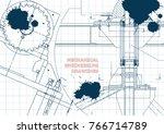 blueprints. mechanical... | Shutterstock .eps vector #766714789