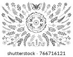 bloom collection. set of hand... | Shutterstock .eps vector #766716121